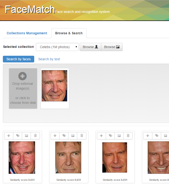 Screenshot of FaceMatch technology application